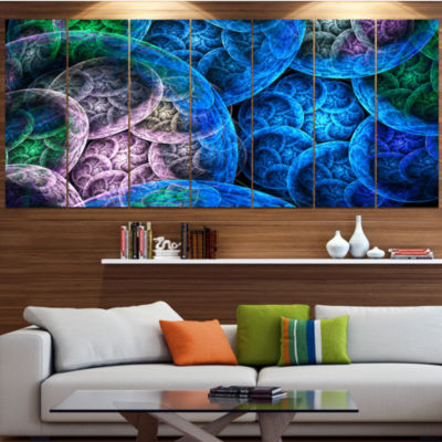 Dramatic Colorful Fractal Clouds Contemporary Canvas Art Print - 5 Panels