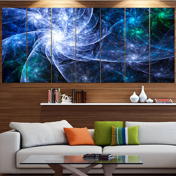 Designart Blue Fractal Star Pattern Abstract Canvas Art Print - 7 Panels