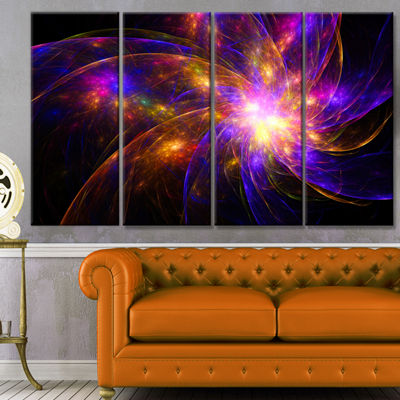 Purple Fractal Star Pattern Abstract Canvas Art Print - 4 Panels