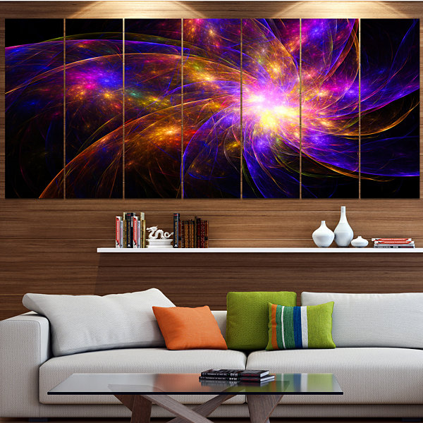 Purple Fractal Star Pattern Abstract Canvas Art Print - 6 Panels
