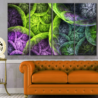 Green Pink Colorful Clouds Abstract Canvas Art Print - 4 Panels