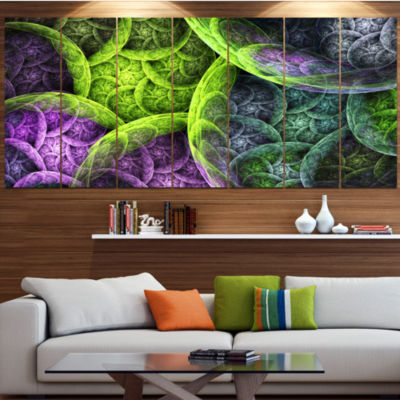 Green Pink Colorful Clouds Abstract Canvas Art Print - 5 Panels