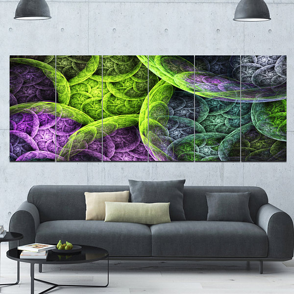 Green Pink Colorful Clouds Abstract Canvas Art Print - 6 Panels