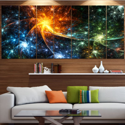 Designart Colorful Fireworks With Stars AbstractCanvas ArtPrint - 4 Panels