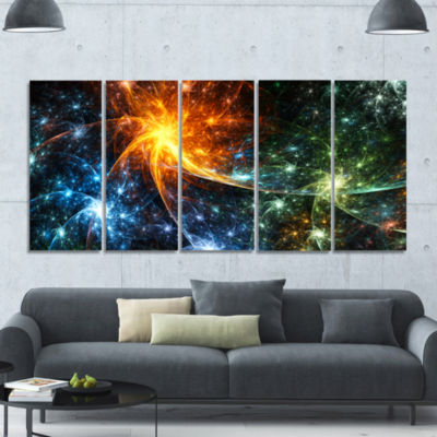 Colorful Fireworks With Stars Abstract Canvas ArtPrint - 5 Panels