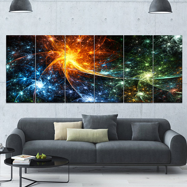 Designart Colorful Fireworks With Stars AbstractCanvas ArtPrint - 6 Panels
