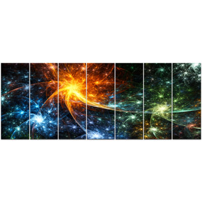 Designart Colorful Fireworks With Stars AbstractCanvas ArtPrint - 7 Panels