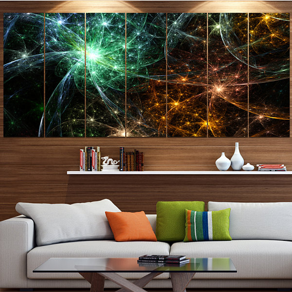Green Orange Colorful Fireworks Abstract Canvas Art Print - 7 Panels