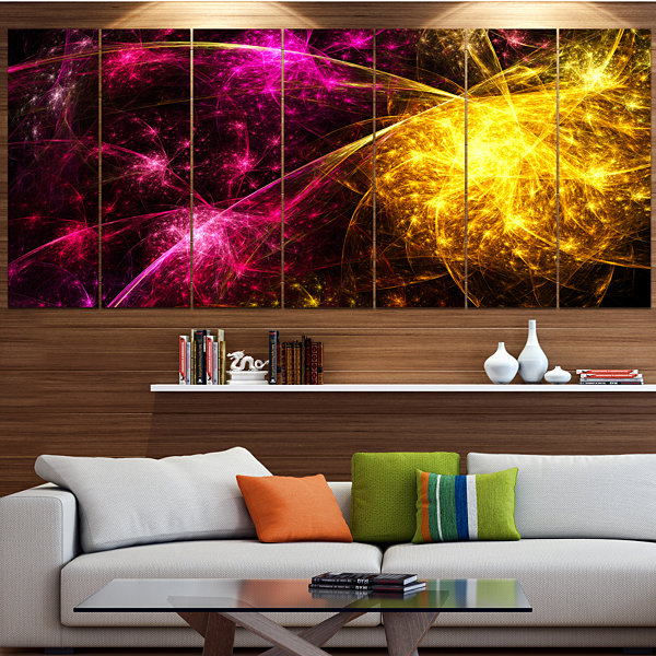 Yellow Pink Colorful Fireworks Abstract Canvas ArtPrint - 7 Panels