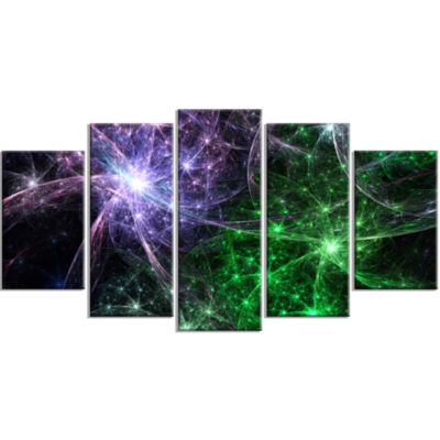 Green Purple Colorful Fireworks Contemporary Art On Canvas - 5 Panels