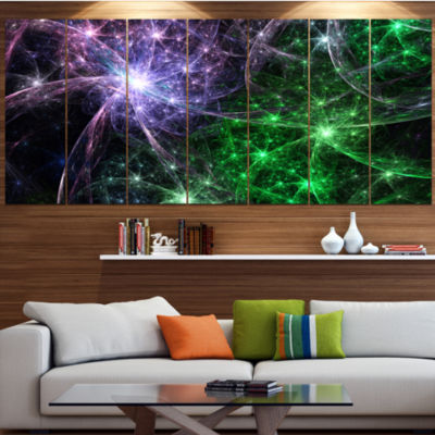 Green Purple Colorful Fireworks Abstract Art On Canvas - 7 Panels