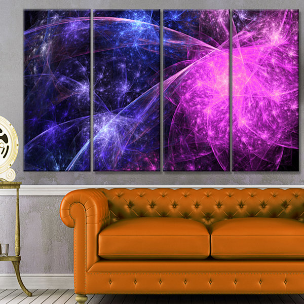 Purple Pink Colorful Fireworks Abstract Art On Canvas - 4 Panels