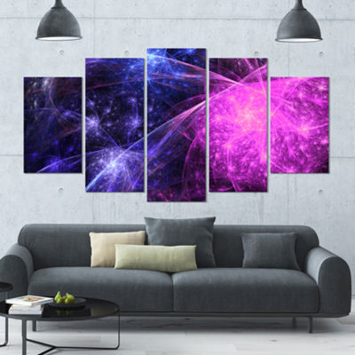 Purple Pink Colorful Fireworks Contemporary Art OnCanvas - 5 Panels