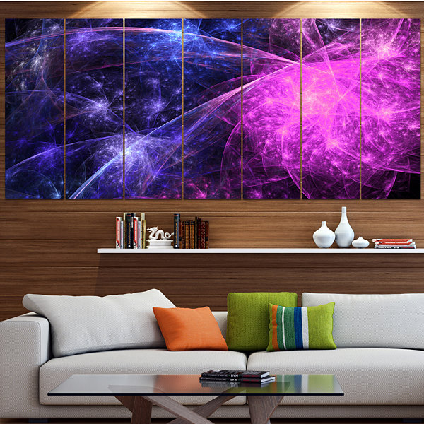 Purple Pink Colorful Fireworks Abstract Art On Canvas - 5 Panels