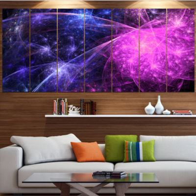 Purple Pink Colorful Fireworks Abstract Art On Canvas - 7 Panels
