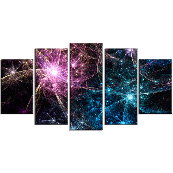Designart Blue Pink Colorful Fireworks Contemporary Art On Canvas - 5 Panels