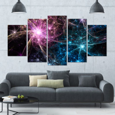 Blue Pink Colorful Fireworks Contemporary Art On Canvas - 5 Panels
