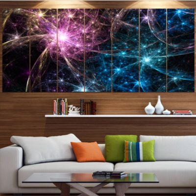 Designart Blue Pink Colorful Fireworks Abstract Art On Canvas - 5 Panels