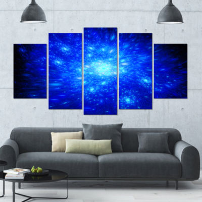 Blue Fireworks On Black Contemporary Art On Canvas- 5 Panels