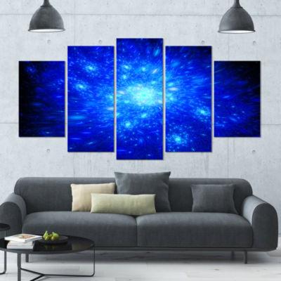 Designart Blue Fireworks On Black Abstract Art OnCanvas - 5Panels
