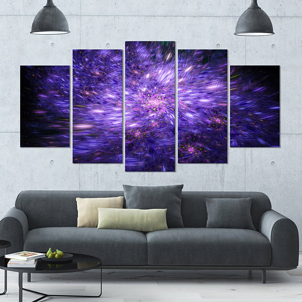 Purple Fireworks On Black Abstract Art On Canvas -4 Panels