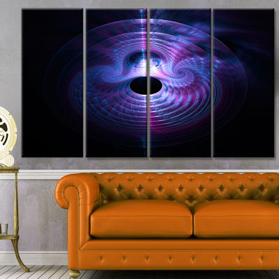 Bright Blue Magical Lights Abstract Art On Canvas- 4 Panels
