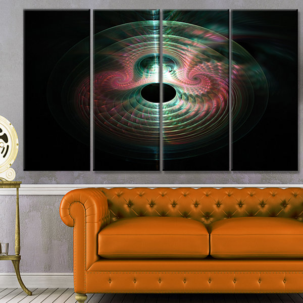 Green Pink Magical Lights Abstract Art On Canvas -4 Panels