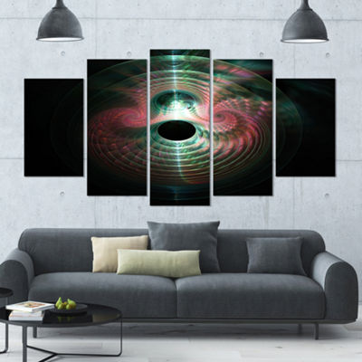 Green Pink Magical Lights Abstract Art On Canvas -5 Panels