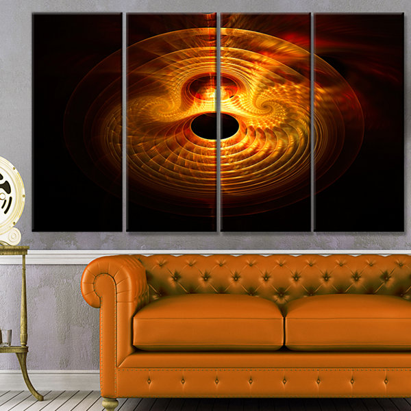 Designart Bright Yellow Magical Lights Abstract Art On Canvas - 4 Panels