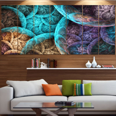 Design Art Colorful Dramatic Clouds Abstract Art On Canvas -5 Panels