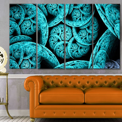 Designart Blue Dramatic Clouds Abstract Art On Canvas - 4 Panels