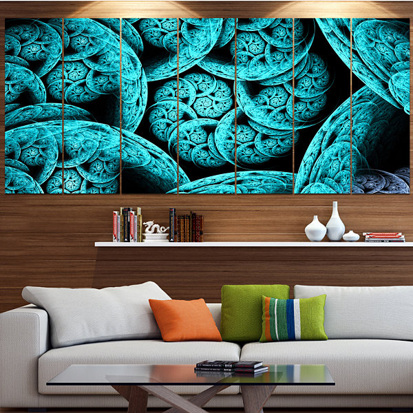Design Art Blue Dramatic Clouds Abstract Art On Canvas - 5 Panels