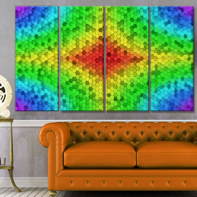 Designart Colorful Elevated Hexagon Columns Abstract Art OnCanvas - 4 Panels