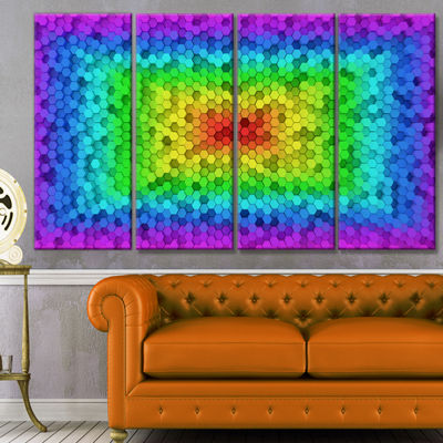 Random Elevated Hexagon Columns Abstract Art On Canvas - 4 Panels