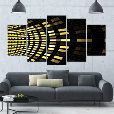 Designart Abstract Fractal Gold Square Pixel Abstract Art OnCanvas - 5 Panels