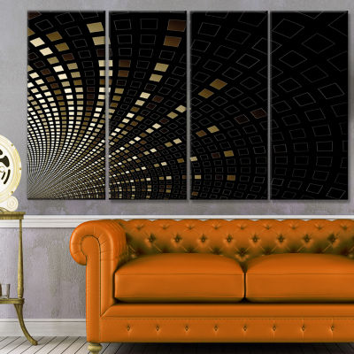 Gold Square Pixel Mosaic On Black Abstract Art OnCanvas - 4 Panels