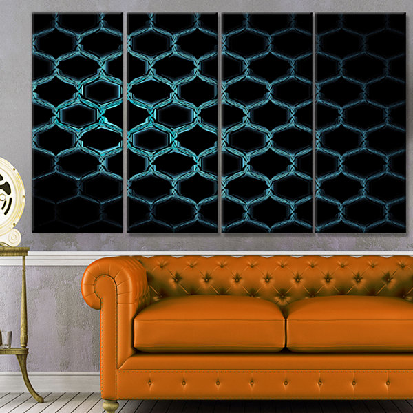Honeycomb Fractal Gold Hex Pixel Abstract Art On Canvas - 4 Panels
