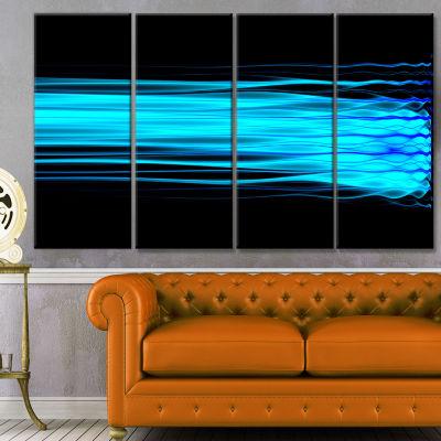 Designart Bright Blue Fractal Waves Abstract ArtOnCanvas -4 Panels