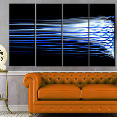 Dark Blue Fractal Waves Abstract Art On Canvas - 4Panels
