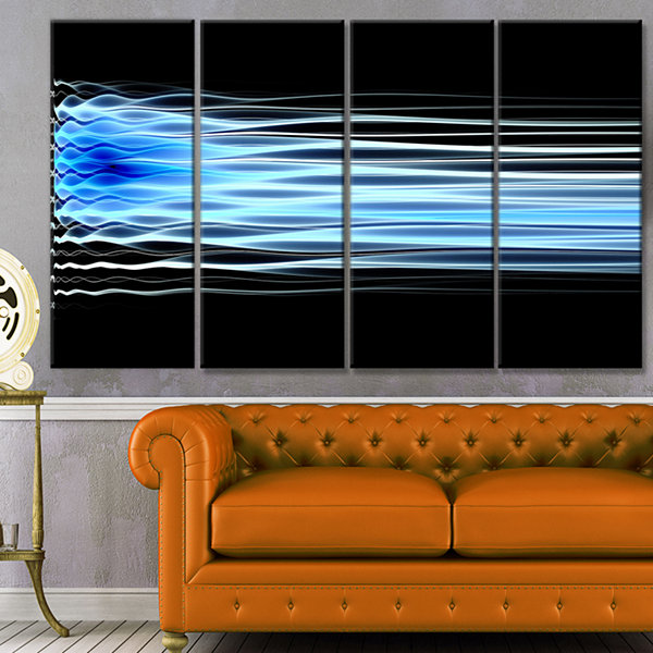 Light Blue Fractal Waves Abstract Art On Canvas -4Panels