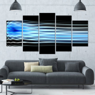 Light Blue Fractal Waves Contemporary Art On Canvas - 5 Panels