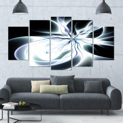 White Symmetrical Fractal Flower Abstract Art On Canvas - 5 Panels