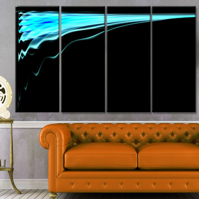 Designart Blue Flames Digital Artwork Abstract ArtOn Canvas- 4 Panels