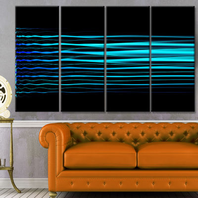 Blue Fractal Flames On Black Abstract Art On Canvas - 4 Panels