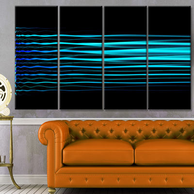 Designart Blue Fractal Flames On Black Abstract Art On Canvas - 4 Panels