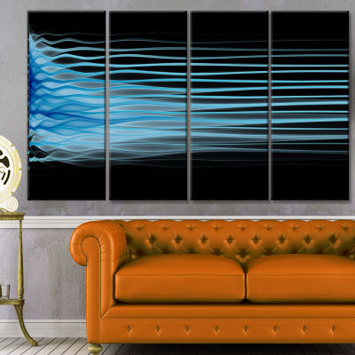 Light Blue Fractal Flames Abstract Art On Canvas -4 Panels