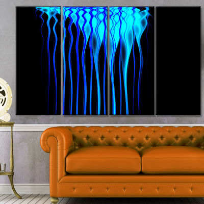 Blue Flames Fractal Pattern Abstract Art On Canvas- 4 Panels