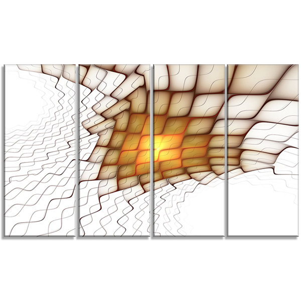 Yellow Flames On White Blocks Abstract Art On Canvas - 4 Panels