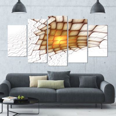 Yellow Flames On White Blocks Abstract Art On Canvas - 5 Panels