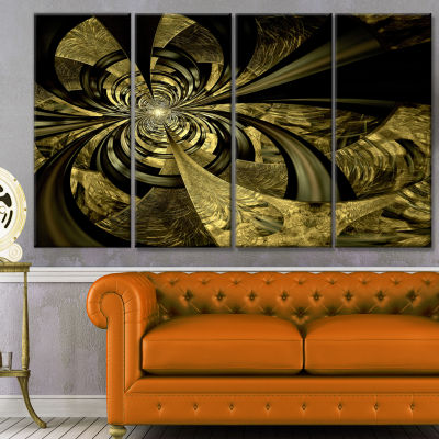 Designart Colorful Fractal Flower Pattern AbstractArt On Canvas - 4 Panels